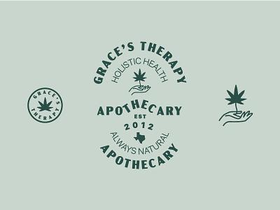 Grace's Therapy logo healthcare cbd flat branding illustration