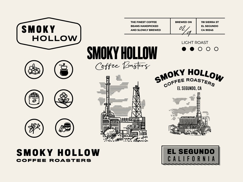 Design for Smoky Hollow in El Segundo, California vintage lettering uidesign icon logo packagedesign art artdirection graphicdesign flat branding illustration