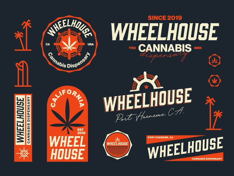 Wheelhouse Cannabis Dispensary illustration vector vintage typography logotype surf logotypedesign logo graphicdesign flat dispensary brand design cannabis california branding art