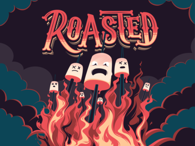 Roasted - Lettering & Illustration fire roasted marshmallow vector lettering art typography illustration design tipo-tuani