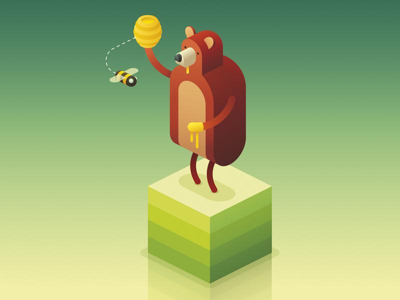 Isometric 3 style color bee honey bear isometric illustration