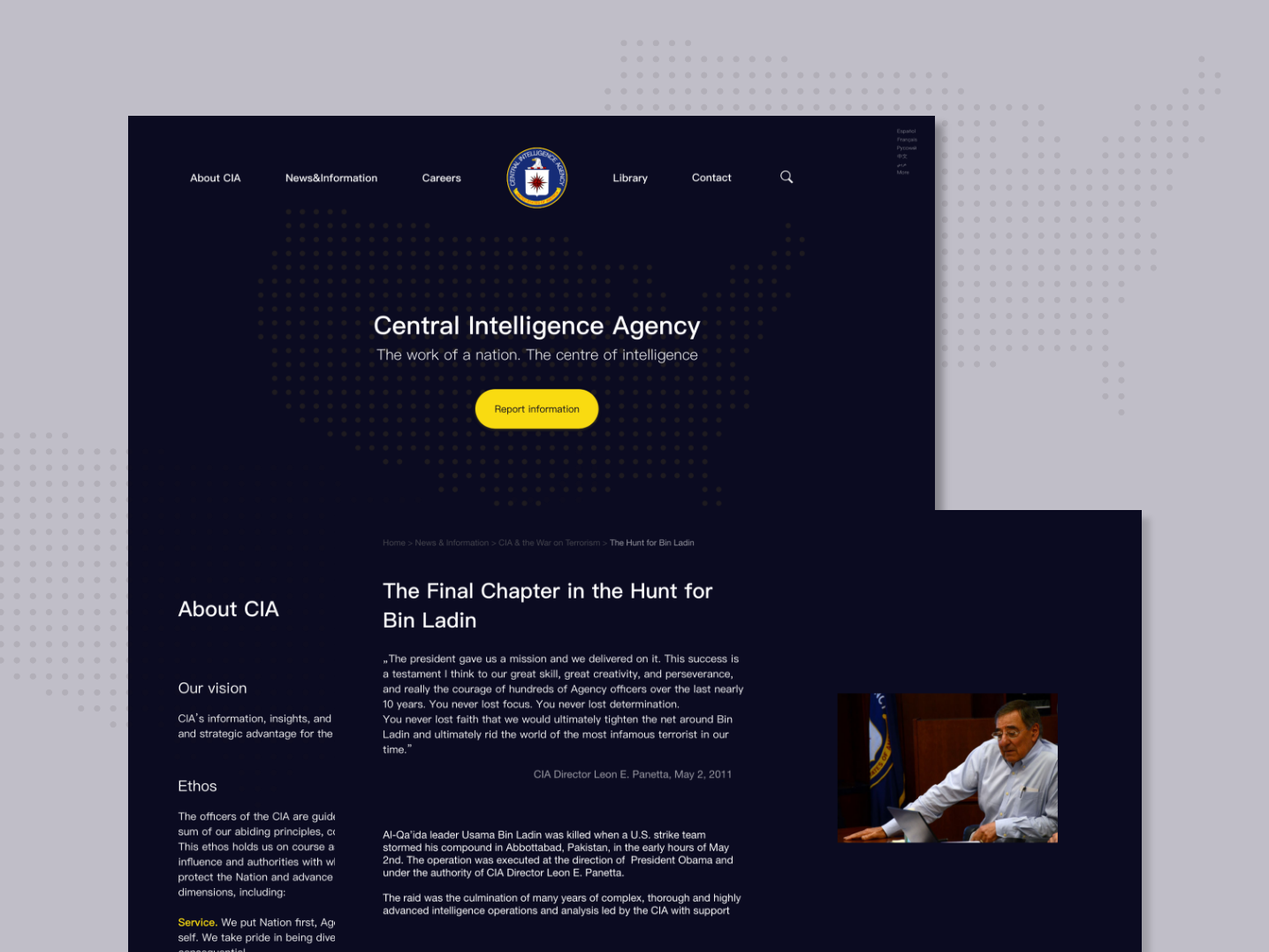 CIA's website redesign userinterface concept challenge redesign website uidesign ui deisgn ui minimalism design