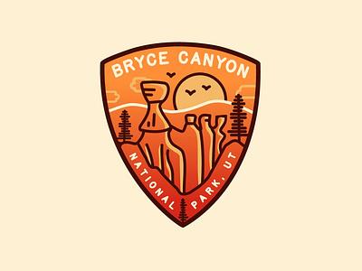Bryce Canyon National Park logo design vector illustration badge