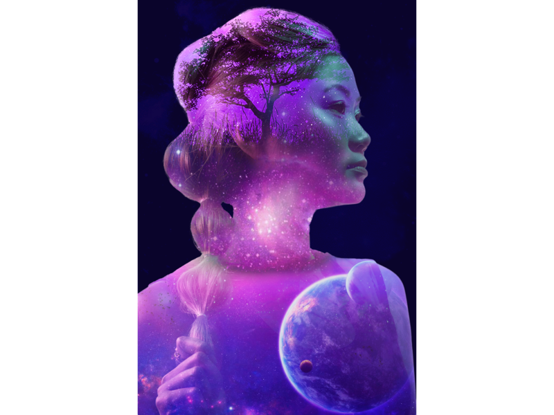 Space girl space girl portrait exposure double exposure psd photomanipulation photoshop design digital