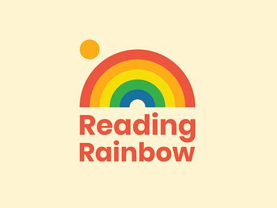 Reading Rainbow logo concept throwback retro vintage rainbows rainbow kids book kids reading rainbow logotype logo design logo