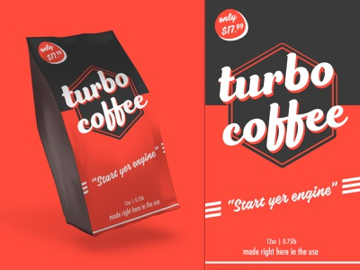 Turbo Coffee Revised package design package mockup coffeepackaging coffeeshop packagedesign packaging logo illustration branding dark design coffee