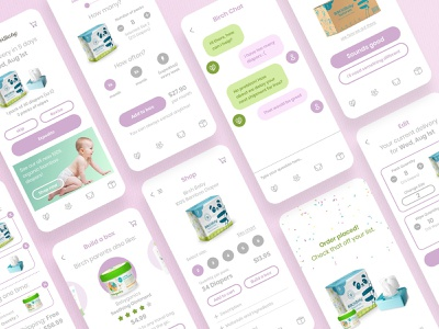 Birch diaper app subscription parents kids app babies diaper baby ux mobile application app ios clean design ui