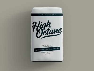 High Octane Coffee auto automobile automotive brand brand identity clean coffee coffee packaging coffeeshop design package mockup racing retro roaster roasters vintage