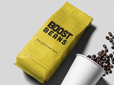 Boost Beans auto automobile automotive brand brand identity clean coffee coffee packaging coffeeshop design package mockup racing retro roaster roasters vintage