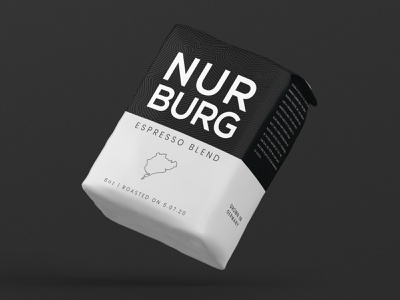 Nurburg Coffee design package package design packaging design coffee coffee bean bean beans auto espresso cafe logo brand branding minimal black black  white