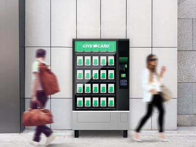 Give Card Vending Machine illustration branding clean design ux ui hackathon mockup mockups mock-up photoshop vendingmachine