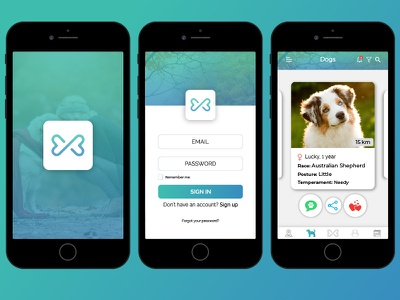 Bark & Go barkgo ux app dogs design illustrator