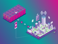 Isometric Blockchain Cryptocurrency Illustration concept