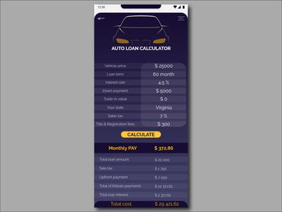 004 DailyUI Auto loan calculatordesign