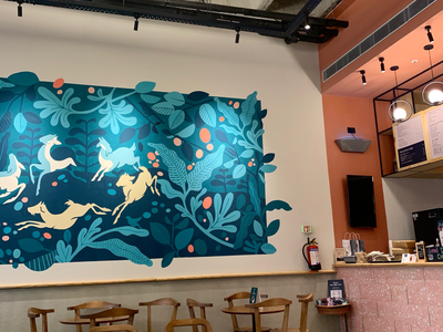 Cafe Mural | Thirdwave Coffee Roasters goats coffee cafe art cafeartwork muralpainting wallart mural leaves illustration