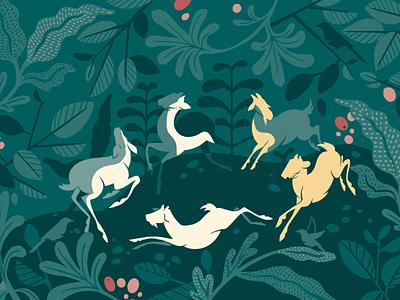 Mural Artwork leaves foliage mural mural art cafeillustration cafe coffee goats illustration