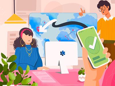 XFlow, a digital payments platform character payments developers office people colours website design web illustration ui illustration