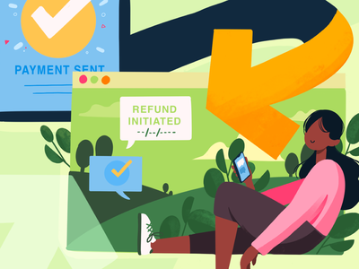 Guaranteed refunds websites web illustrations refunds payments fintech ui illustration
