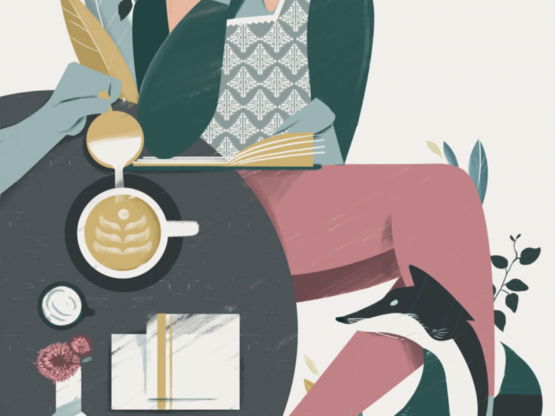 Sip wildlife woman fox pour sip coffeeshop illustrations illustrator