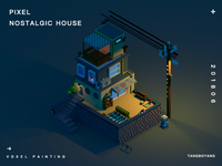 Voxel painting- a nostalgic house