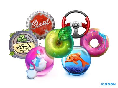 icooon's icons icon apple fish turtle doughnut aquarium cover helm