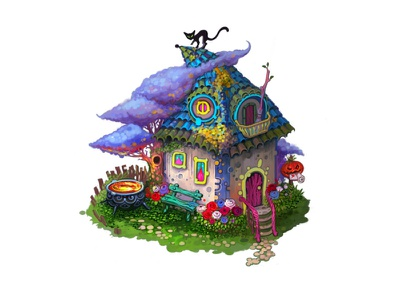 Witch's house shop game gameart witch art building flower