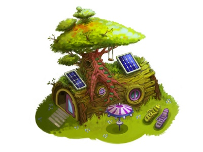 eco house house building tree game
