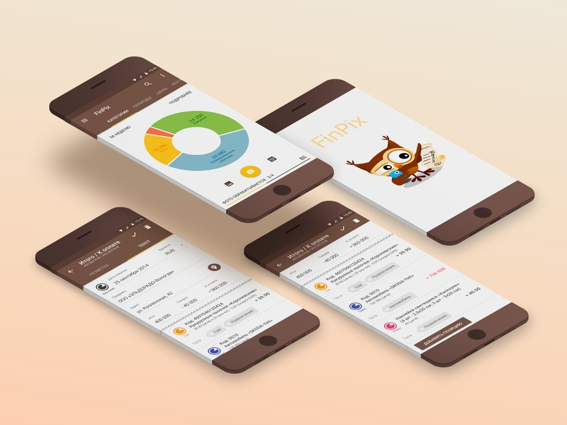 FinPix - Personal finance accounting UI interface design android app mobile app ui