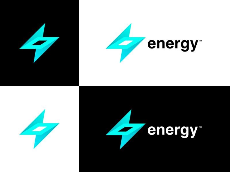 Energy logo ⚡ lightning bolt black white turquoise company logo company branding design vector energy logo energy dynamic vibrant logo design logo