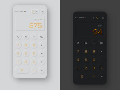 Calculator Neumorphism dark mode mobile app neumorphic design neumorphism calculator ui calculate calculator app calculator app ux ui