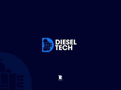 Diesel Tech Logo rerdsystems rerd injector pump blue machine mechanic tech diesel new logos minimal logotype illustration simple logo design brand identity branding simple logo
