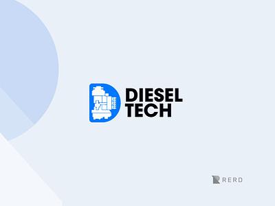 Diesel Tech logo on white machine mechanic digital pump diesel simple logo logo design minimal logotype illustration design brand identity simple branding logo