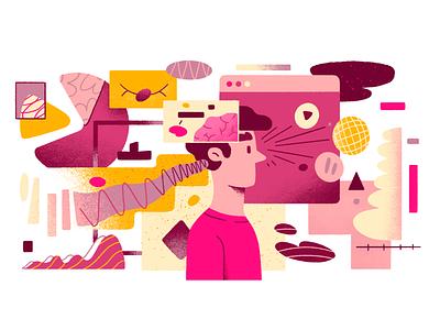 Marketing Communications Strategy analysis brain communication strategy web 2d character marketing illustration