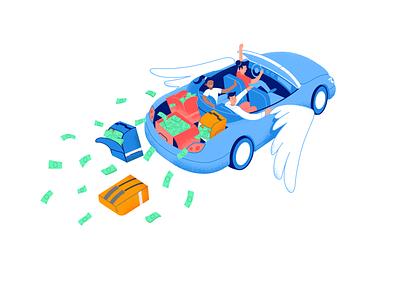 Flying car illustration 2d fun earn wings money startup service car flying