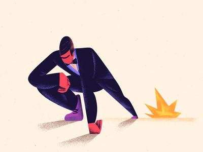 Cool guys don't look at explosions weird perspective shape body grain flat explosion character 2d illustration
