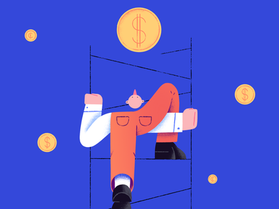 Reaching out nose reach financial money coins weird character abstract ladder illustration