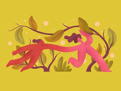 Original sin mustard sin original abstract shapes flat simple weird character 2d illustration