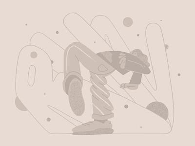 Monochromic experiment: Get away! monocromatic escape run shapes flat simple character illustration 2d