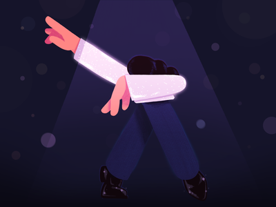 Performing on stage stage artist scene abstract performance dance flat simple character illustration 2d