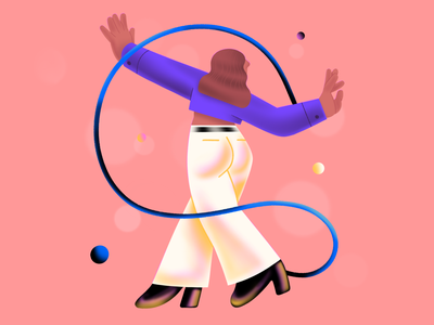 Dance: up disco party dancer dance shapes flat 2d character illustration