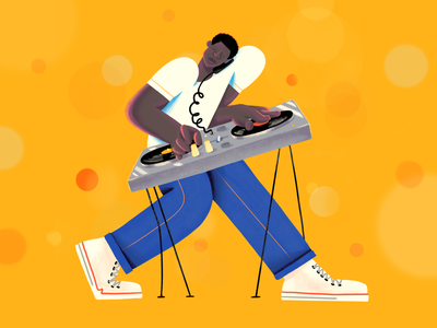Larry Levan electro underground party rave garage music dj simple character 2d illustration