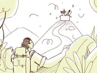 Exploring - Fiverr illustration binocular exploration explorer jungle fiverr 2d character illustration