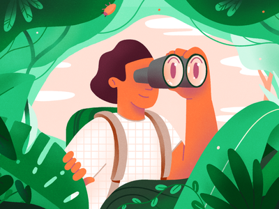 Exploring - Fiverr illustration binocular exploration explorer jungle fiverr 2d character illustration
