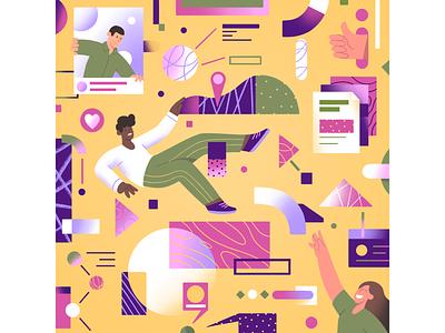 Illustration: web exploration page landing character pattern inspiration design exploration web ui startup coin marketing office 2d illustration