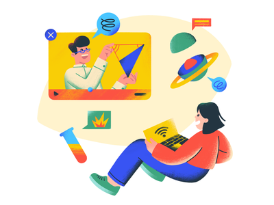 Give internet - Charte illustration online course geometry algebra biology physics chemistry science lecturer teacher studying student math access internet flat simple character illustration 2d