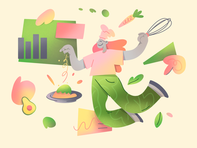 Cooking app illustration: Easy recipe fresh organic simple dish ui spices kitchen chef cooking landing page app illustration culinary character illustration 2d