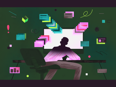 Employee Burnout / Data breach - Cybersecurity ui shapes online document article web illustration startup cybersecurity web editorial illustration breach data burnout office employee flat simple character illustration 2d