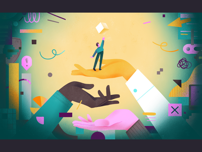 Helping employees / Reaching the goal - editorial illustration central bank cybersecurity tech progress coprorative culture corporation company assistant help fear factor fear mess weird shapes flat character illustration 2d