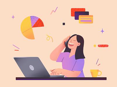 Freelance agent simple design character illustration shapes flat laptop freelance 2d character illustration