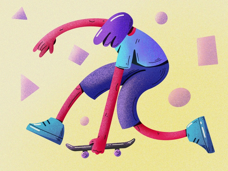 Weird skater noise skate 2d character weird proportions playful illustration flex skater urban lifestyle rock trick jump style